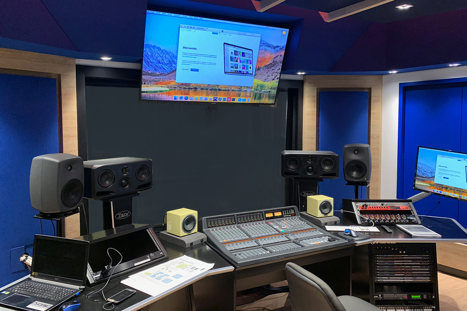 Universidad ICESI in Cali, Colombia commissioned WSDG to design their new music performance, composition and production building with world-class recording studios. Control Room B.