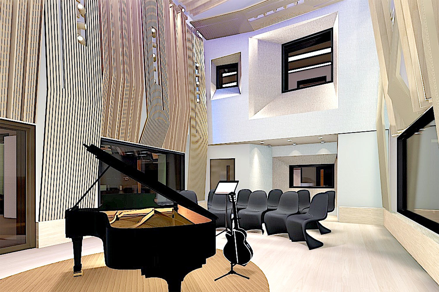 Universidad ICESI in Cali, Colombia commissioned WSDG to design their new music performance, composition and production building with world-class recording studios. Live Room Render 1.