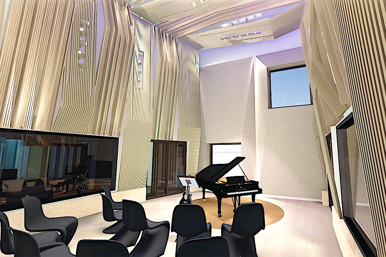 Universidad ICESI in Cali, Colombia commissioned WSDG to design their new music performance, composition and production building with world-class recording studios. Live Room Render 2.