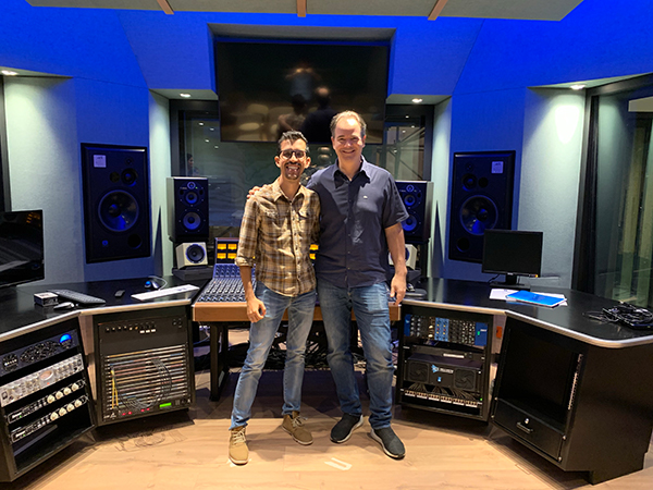 Cesar Andres Bonilla (ICESI) and Renato Cipriano (WSDG) at the Studio Tuning at ICESI new recording studios facility.