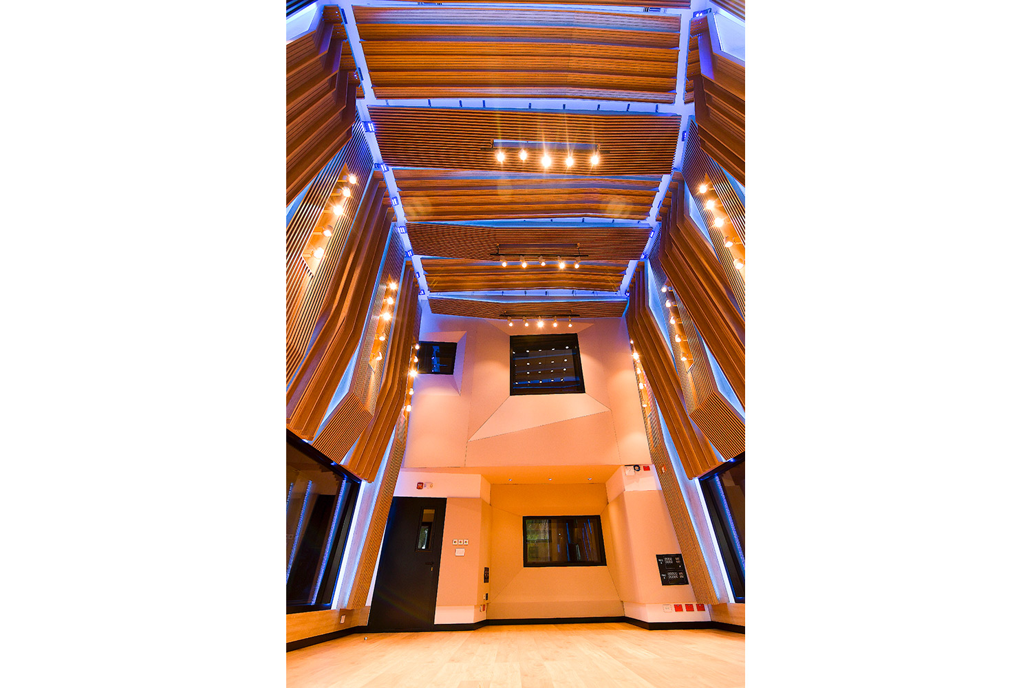 Universidad ICESI new world-class recording studio facility designed by WSDG. Double height live room 2.