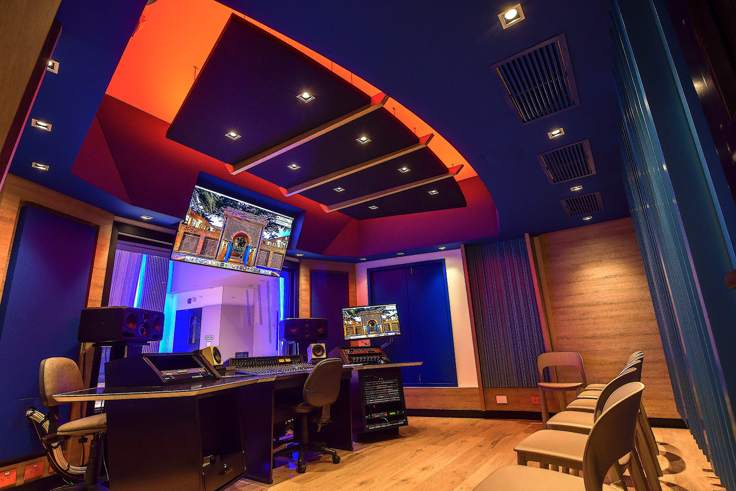 Universidad ICESI new world-class recording studio facility designed by WSDG. Control Room B.