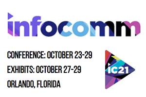 InfoComm 2021. Official Logo. Sergio Molho, from WSDG, presenting a lecture or webinar.