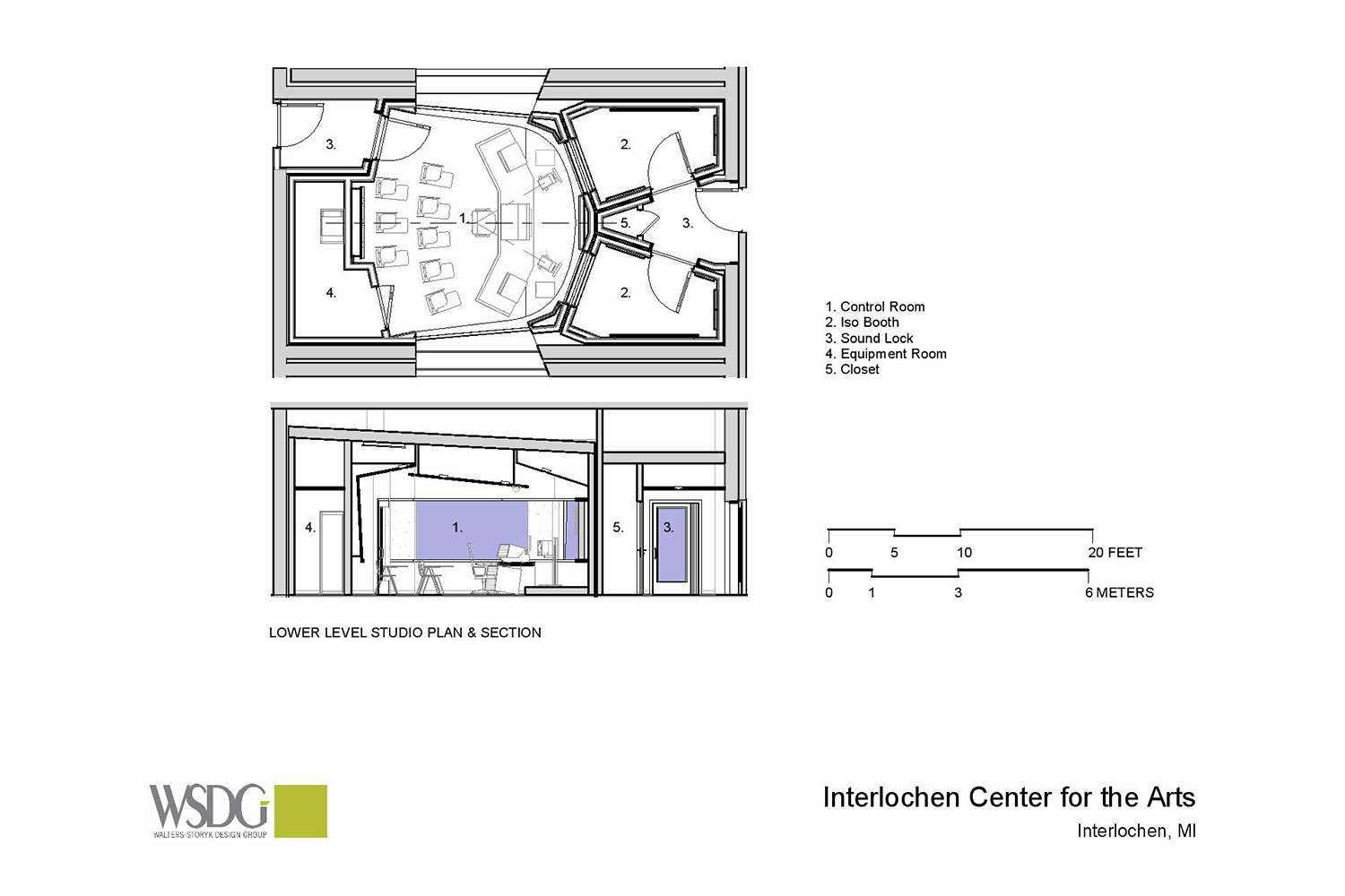 Interlochen has recently completed their new complex. A key component of the new complex is a state-of-the-art recording/teaching studio complex developed by WSDG. Presentation drawing 1, floor level.