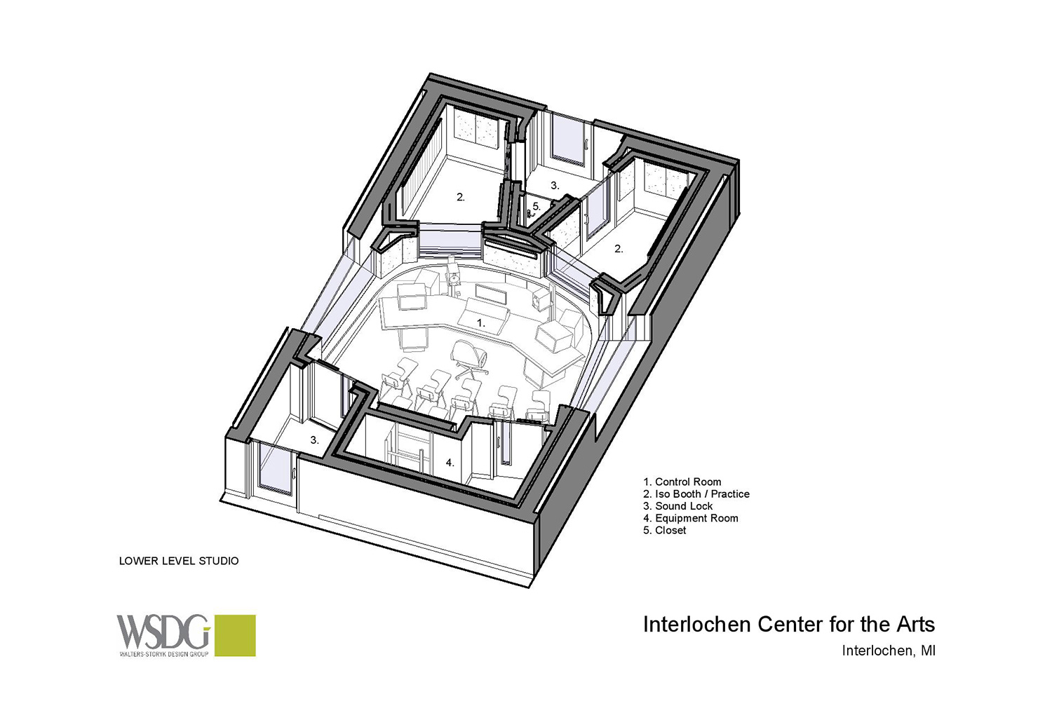 Interlochen has recently completed their new complex. A key component of the new complex is a state-of-the-art recording/teaching studio complex developed by WSDG. Presentation drawing 1, floor level axonometric view.