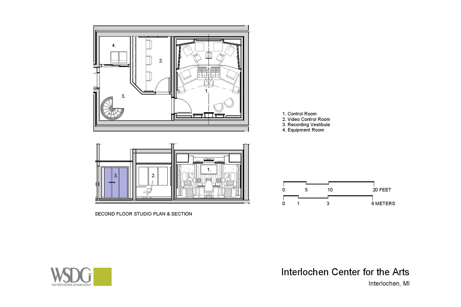 Interlochen has recently completed their new complex. A key component of the new complex is a state-of-the-art recording/teaching studio complex developed by WSDG. Presentation drawing 2, second floor.