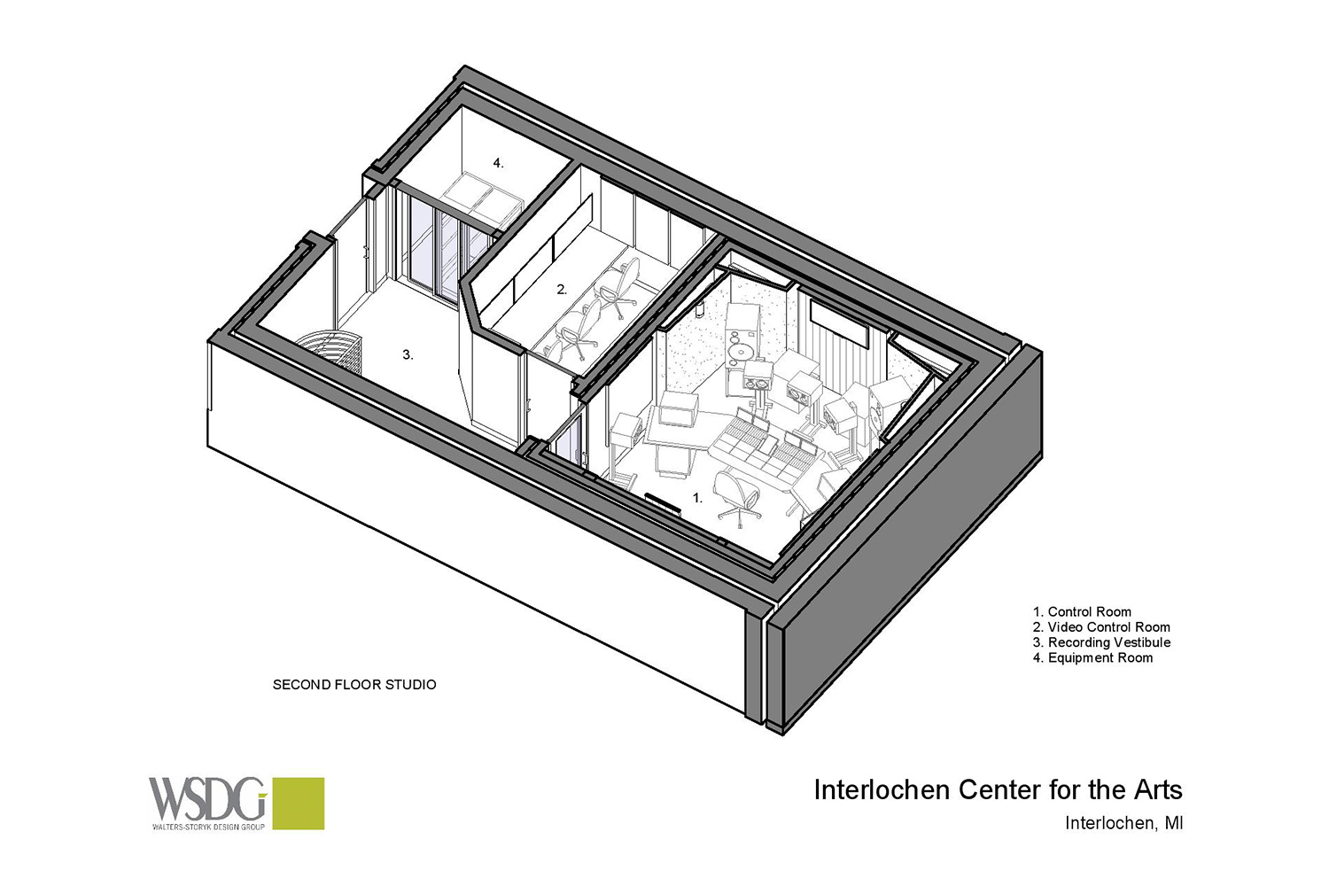 Interlochen has recently completed their new complex. A key component of the new complex is a state-of-the-art recording/teaching studio complex developed by WSDG. Presentation drawing 2, second floor axonometric view.