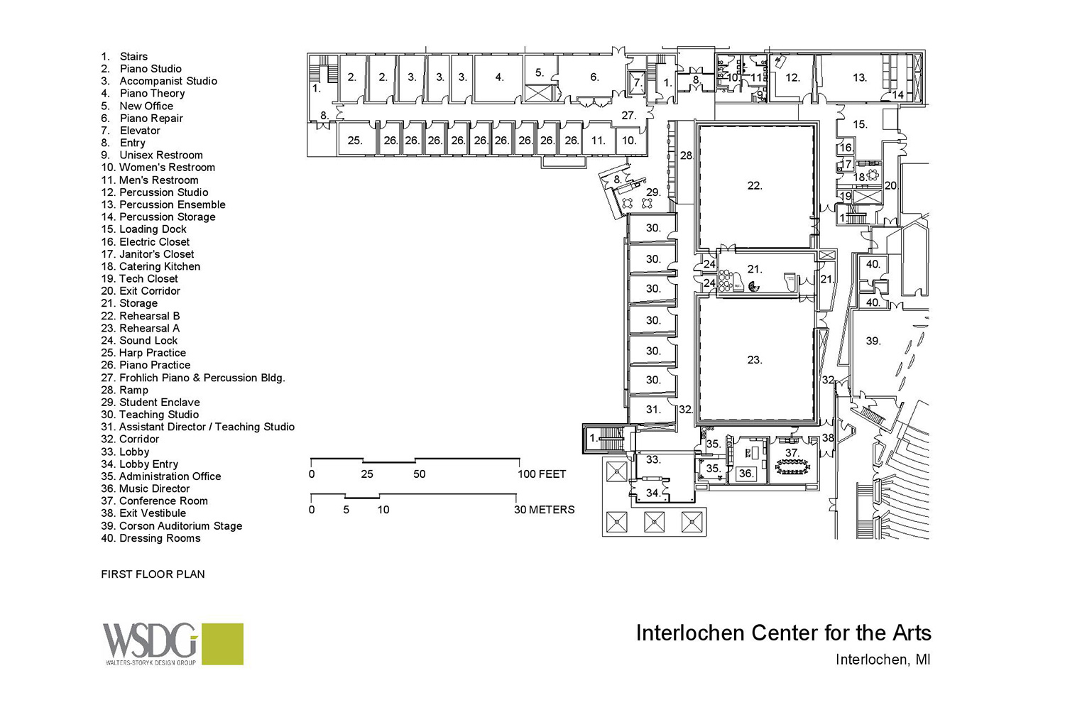 Interlochen has recently completed their new complex. A key component of the new complex is a state-of-the-art recording/teaching studio complex developed by WSDG. Presentation drawing 5.