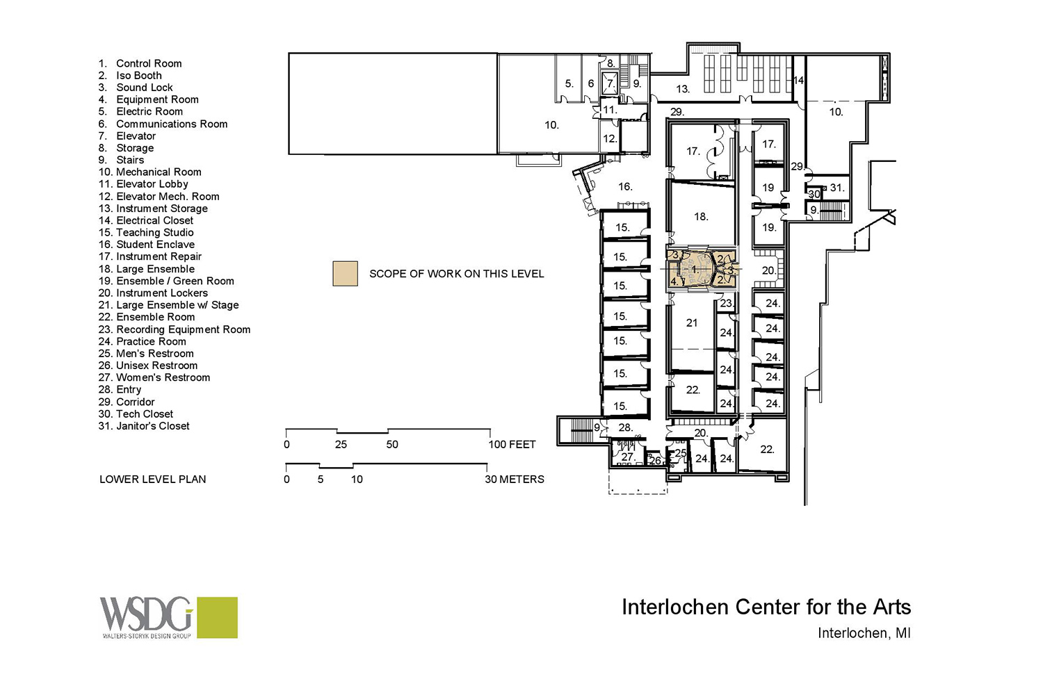 Interlochen has recently completed their new complex. A key component of the new complex is a state-of-the-art recording/teaching studio complex developed by WSDG. Presentation drawing 6.