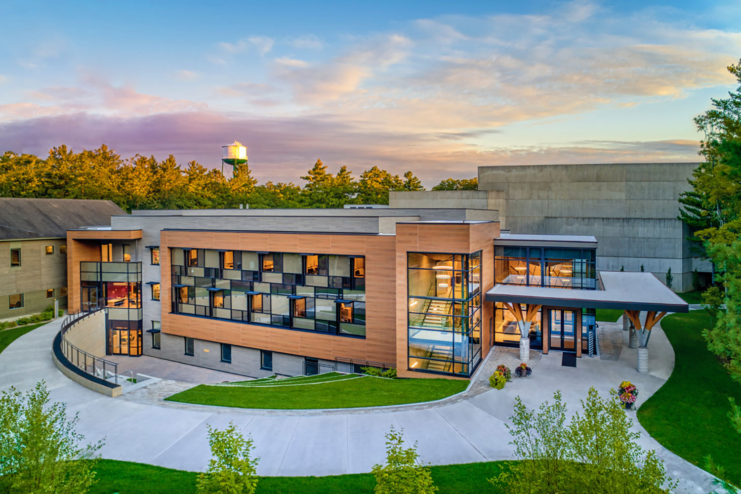 Interlochen has recently completed their new complex. A key component of the new complex is a state-of-the-art recording/teaching studio complex developed by WSDG. Exterior Photo.