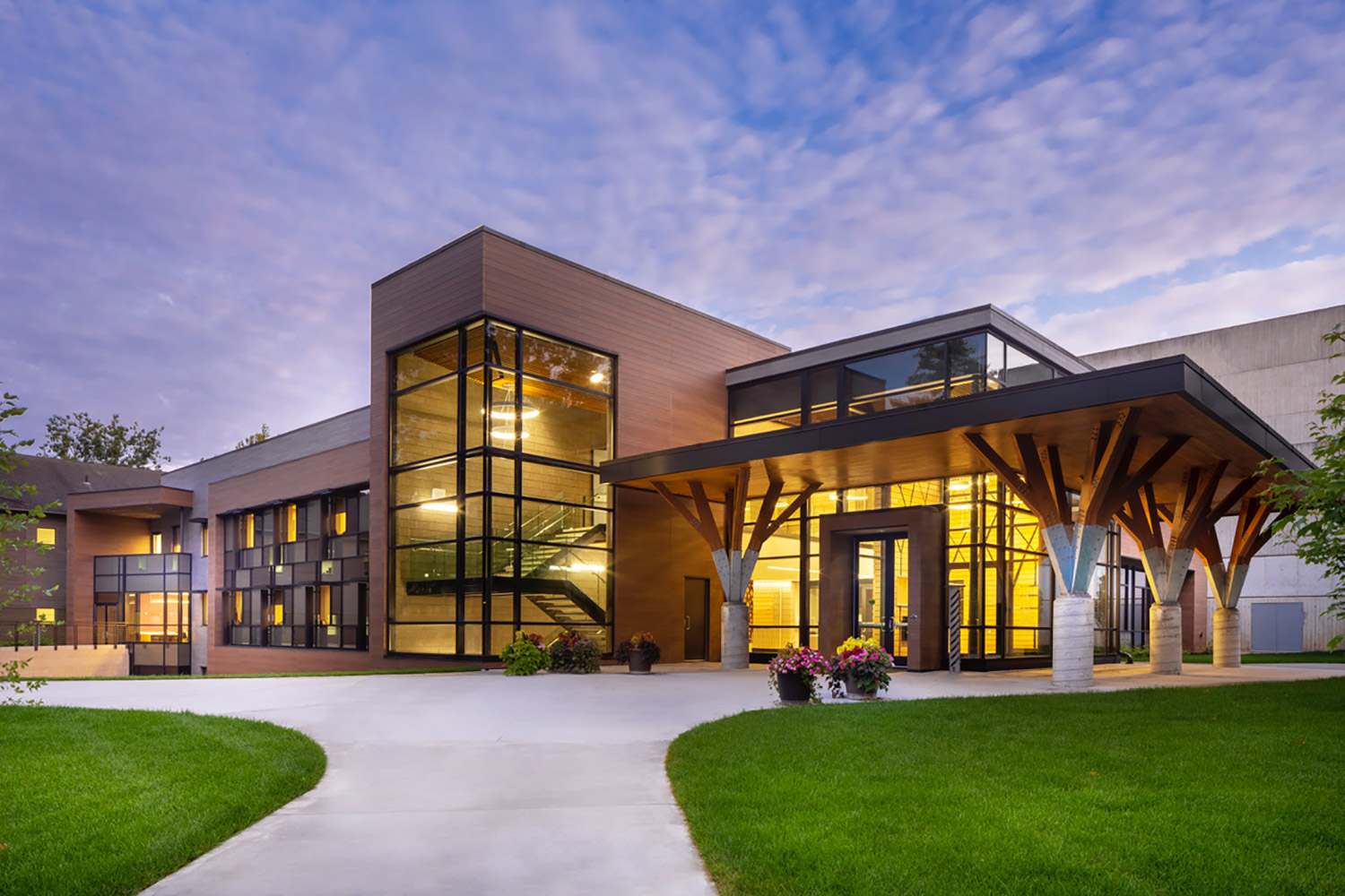 Interlochen has recently completed their new complex. A key component of the new complex is a state-of-the-art recording/teaching studio complex developed by WSDG. Exterior Night Photo.
