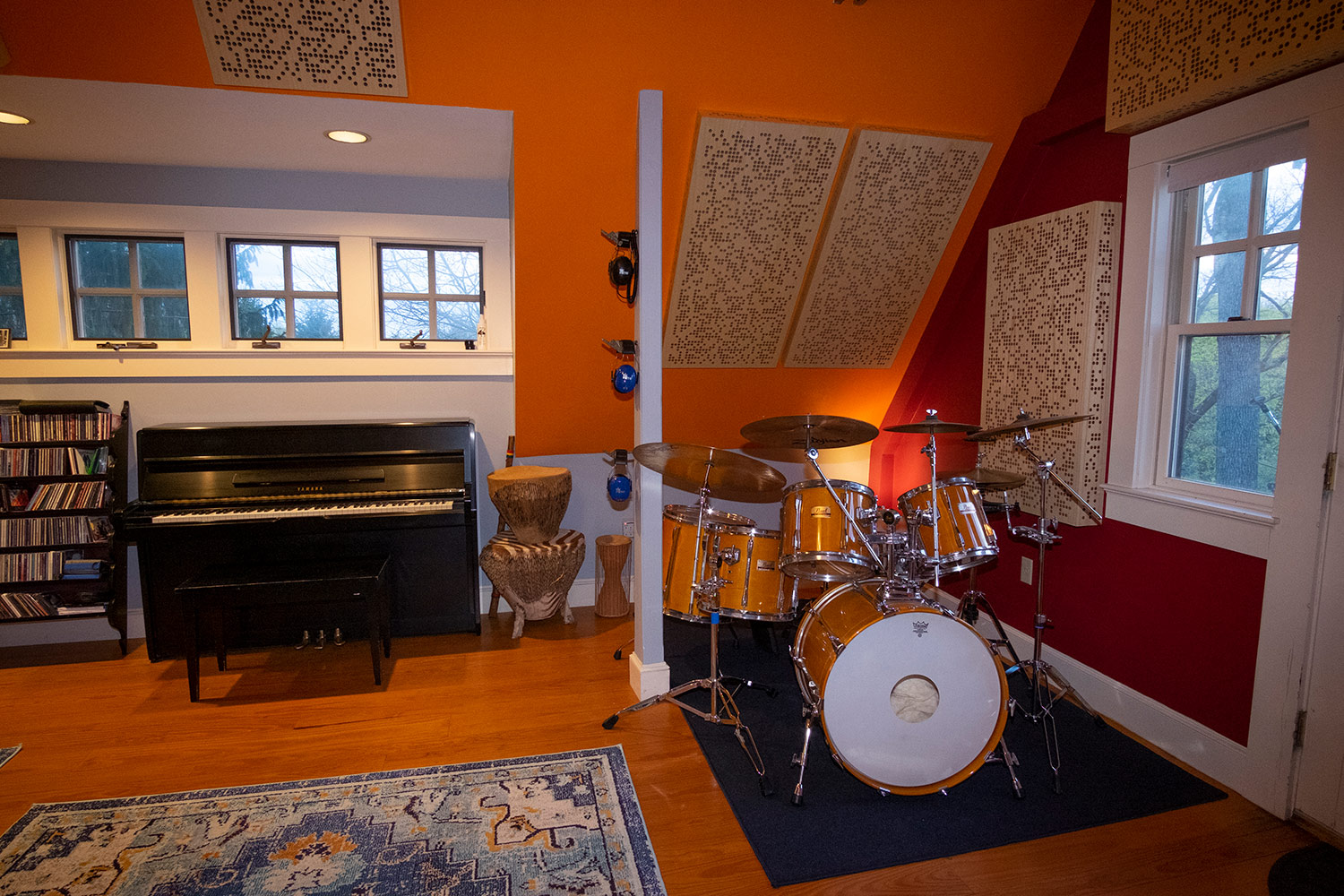 Rob Jaczko Abbott Road Studio, an all-in-one room with perfect internal room acoustics designed by WSDG and engaging the NIRO software. Drum corner.