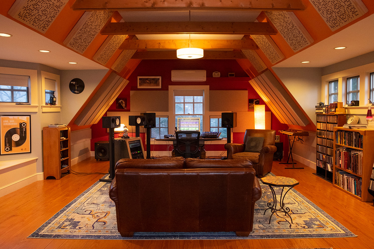 Rob Jaczko Abbott Road Studio, an all-in-one room with perfect internal room acoustics designed by WSDG and engaging the NIRO software. Mid Room.