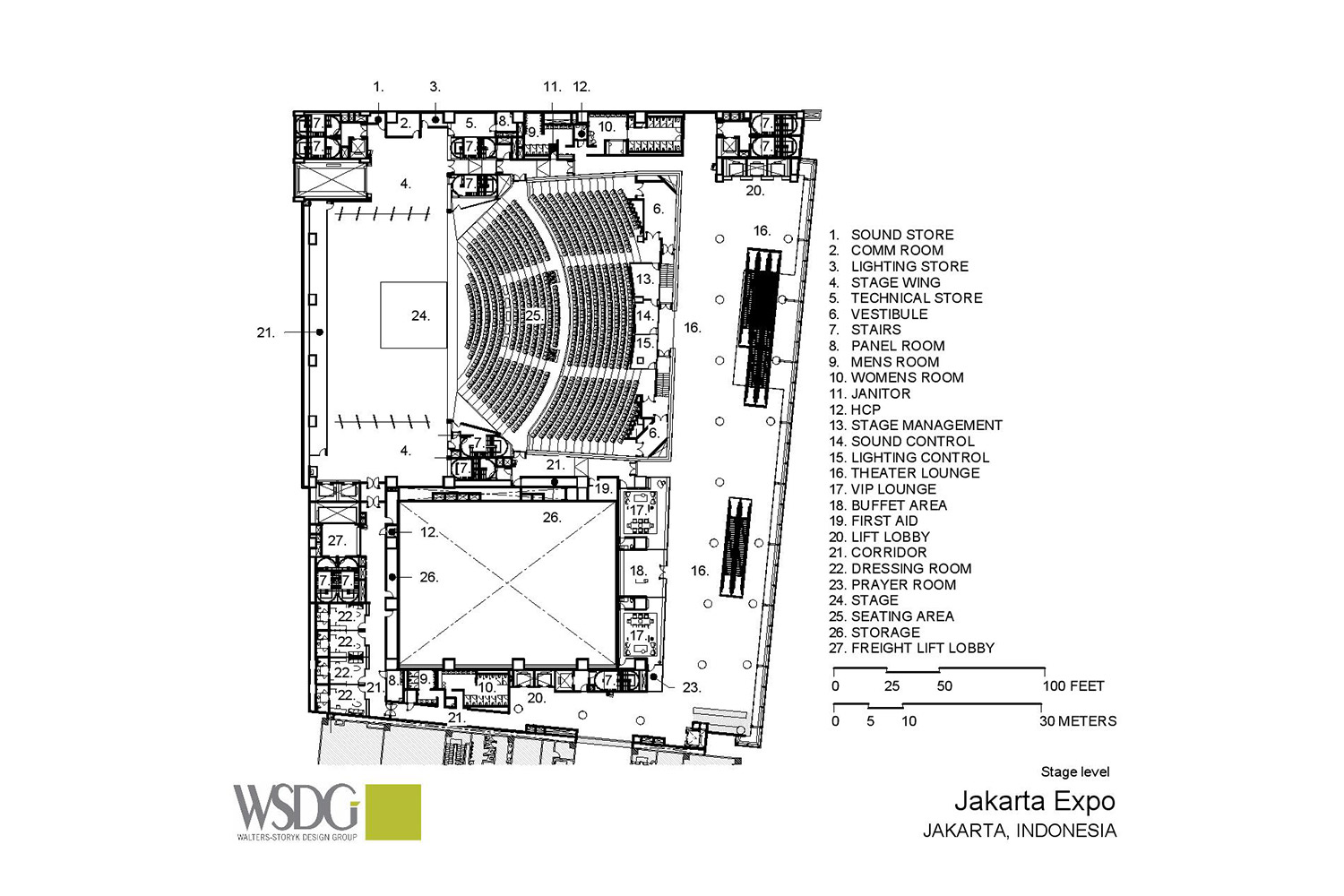 The new Convention Centre and Theatre at Jakarta International Expo (JIExpo) complex will be one of the largest and most forward thinking convention and entertainment centers in Indonesia. WSDG was called to to create an acoustic environment conducive to world-class acoustical standards throughout the complex. Presentation Drawing 1