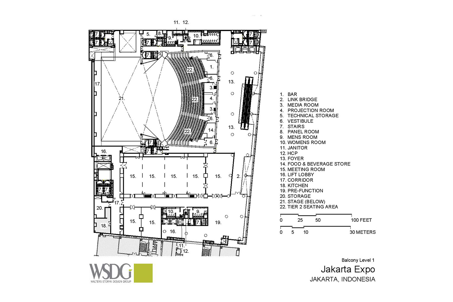 The new Convention Centre and Theatre at Jakarta International Expo (JIExpo) complex will be one of the largest and most forward thinking convention and entertainment centers in Indonesia. WSDG was called to to create an acoustic environment conducive to world-class acoustical standards throughout the complex. Presentation Drawing 3