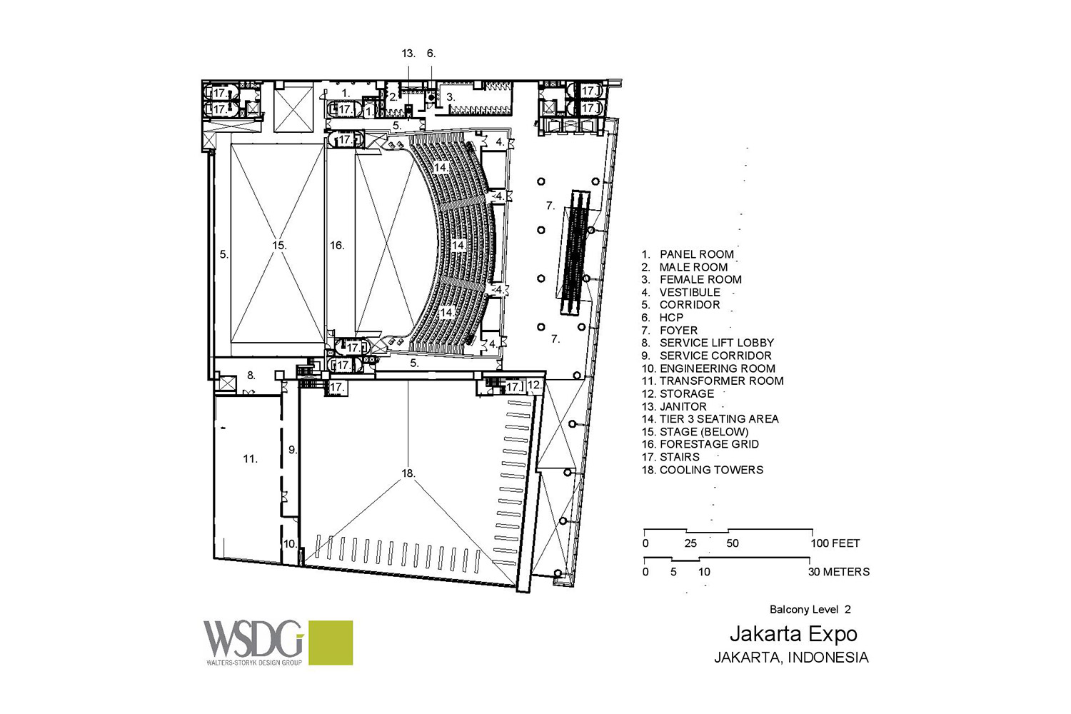 The new Convention Centre and Theatre at Jakarta International Expo (JIExpo) complex will be one of the largest and most forward thinking convention and entertainment centers in Indonesia. WSDG was called to to create an acoustic environment conducive to world-class acoustical standards throughout the complex. Presentation Drawing 4