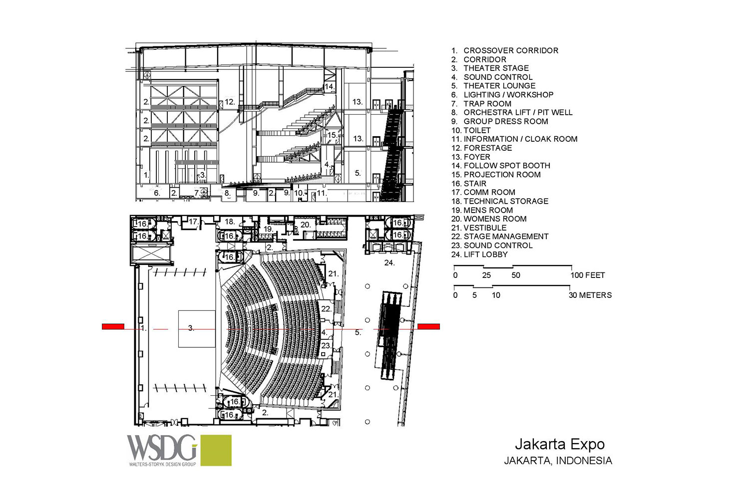 The new Convention Centre and Theatre at Jakarta International Expo (JIExpo) complex will be one of the largest and most forward thinking convention and entertainment centers in Indonesia. WSDG was called to to create an acoustic environment conducive to world-class acoustical standards throughout the complex. Presentation Drawing 5
