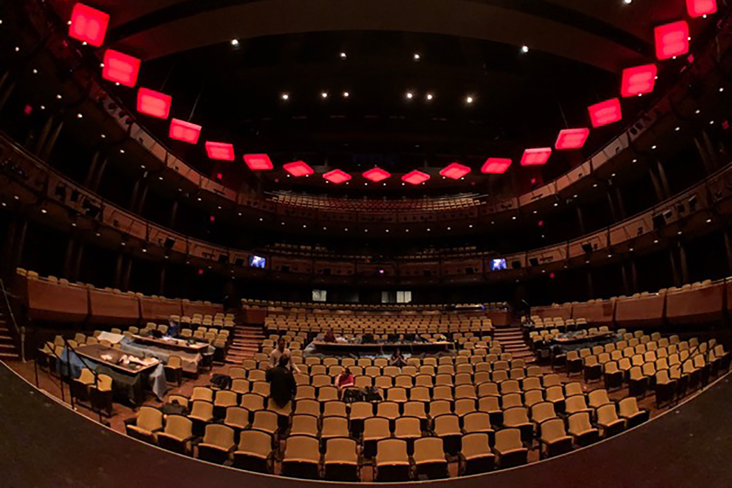 Jazz at Lincoln Center, acoustic design, isolation and internal room acoustics. Rose Hall Theater. Stage view fish eye.