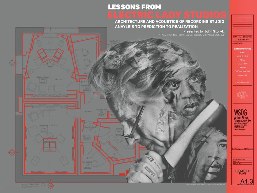 John Storyk - Lessons from Electric Lady - Recording Studios acoustics and architecture class. Poster designed by a Suffolk University (New England school of design) student.