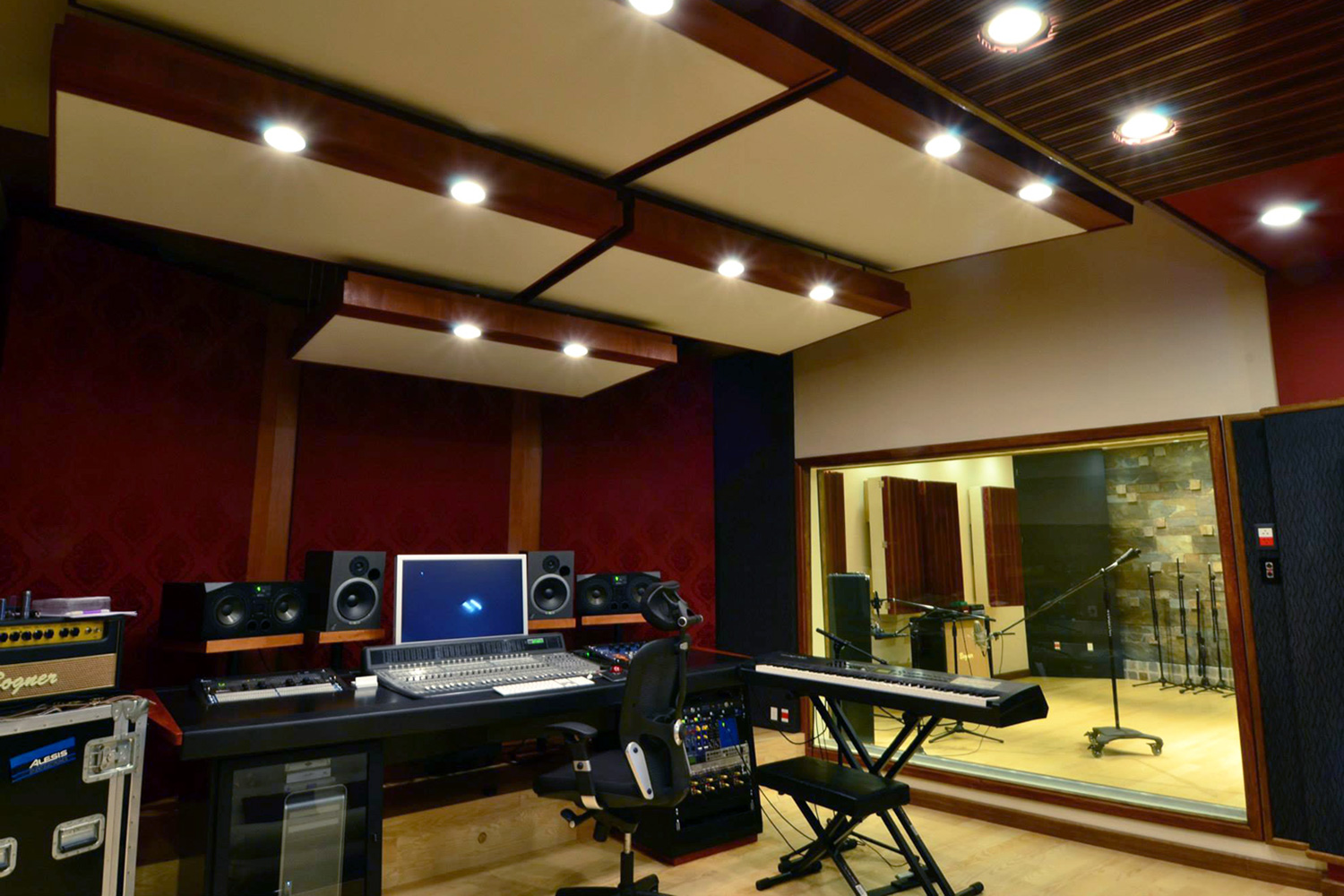 Jose Gentile home recording studio designed by WSDG in Cordoba, Argentina. Control Room front.