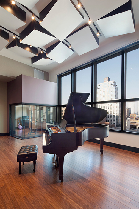 Jungle City Studios owned by Ann Mincieli and Alicia Keys. Live room piano featured with views to Manhattan.