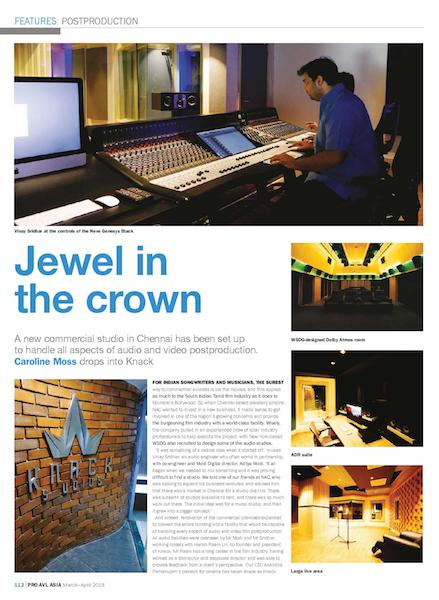 Knack Studios, WSDG first commercial studio in Chennai, India, featured in the March-April 2018 edition of Pro AVL Asia magazine.