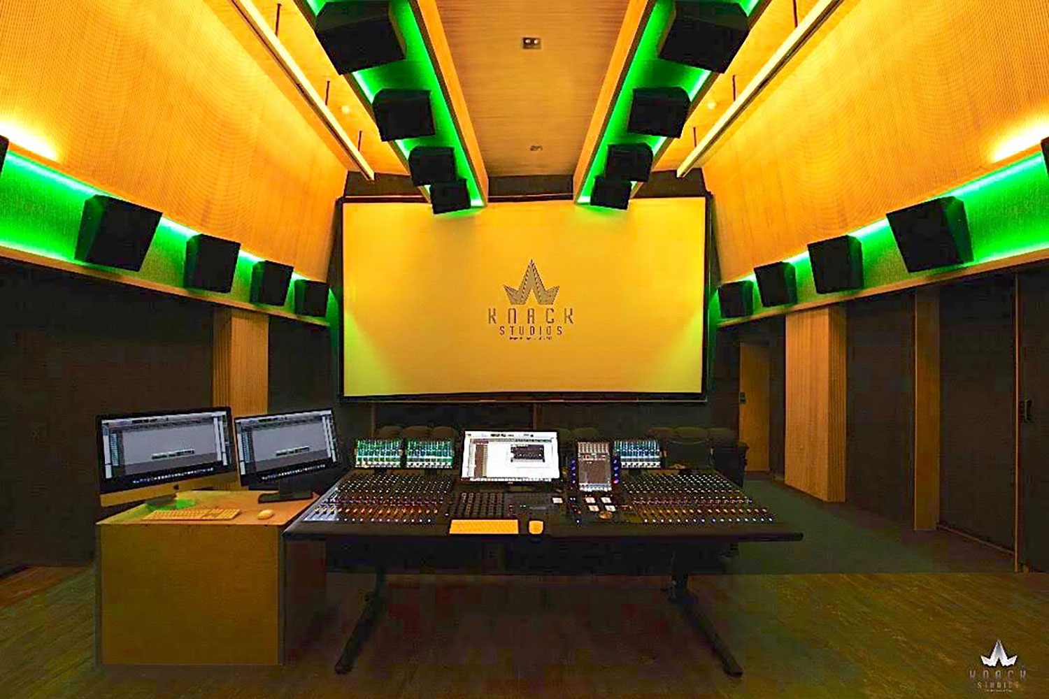 Envisioned as a major resource for India's thriving Bollywood film industry, KNACK Studios is the first world-class post-production complex in Eastern India.  To provide clients with the ultimate facility design, the KNACK executive group retained global architectural/acoustic consultants, WSDG Walters-Storyk Design Group. Control Room 2 with Dolby Atmos.