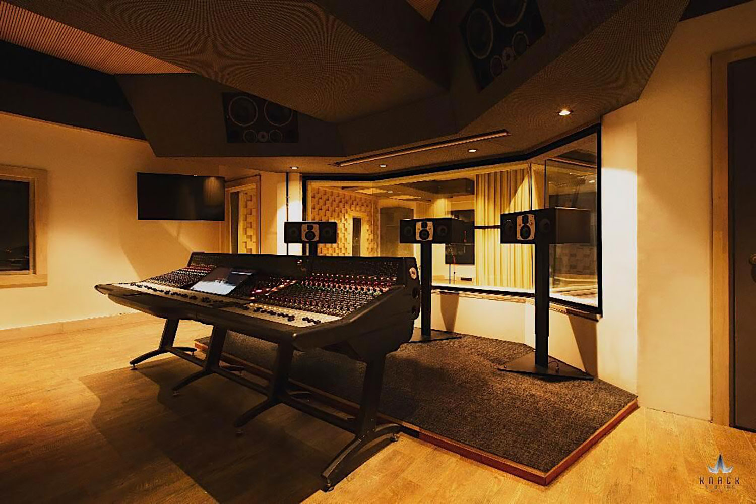 Envisioned as a major resource for India's thriving Bollywood film industry, KNACK Studios is the first world-class post-production complex in Eastern India.  To provide clients with the ultimate facility design, the KNACK executive group retained global architectural/acoustic consultants, WSDG Walters-Storyk Design Group. Control Room 1, side view