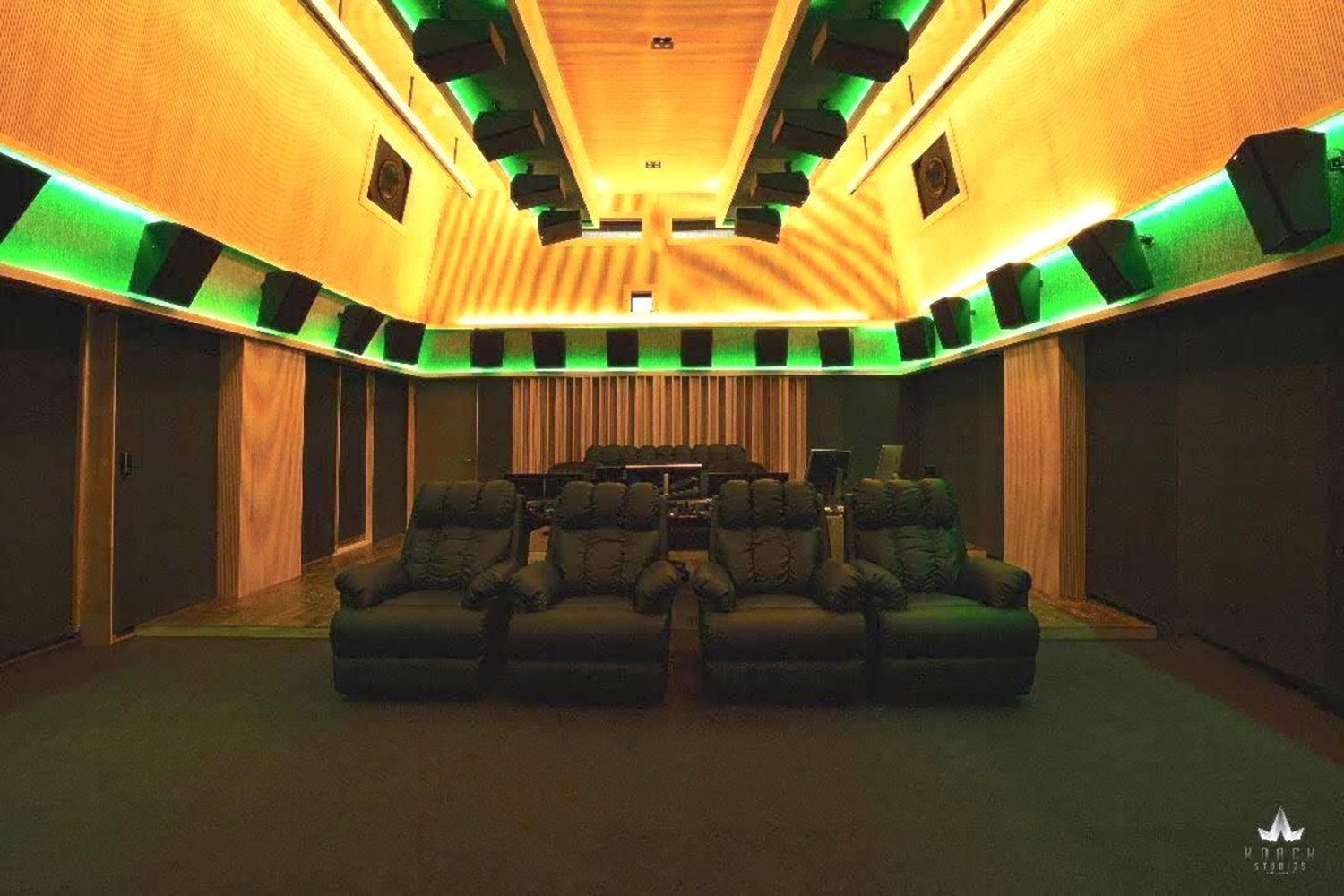 Envisioned as a major resource for India's thriving Bollywood film industry, KNACK Studios is the first world-class post-production complex in Eastern India.  To provide clients with the ultimate facility design, the KNACK executive group retained global architectural/acoustic consultants, WSDG Walters-Storyk Design Group. Control Room 2 with Dolby Atmos, back view.