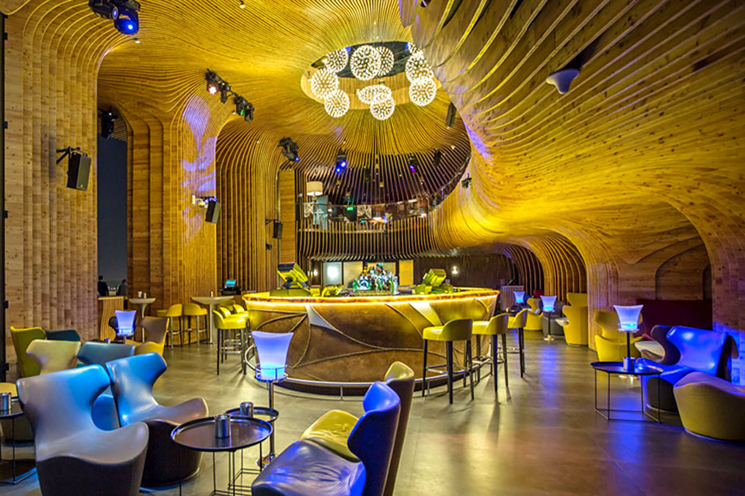 La Cigale, Doha's newest luxury hotel. WSDG (Walters-Storyk Design Group) performed a full acoustic makeover. Rooftop Bar 1