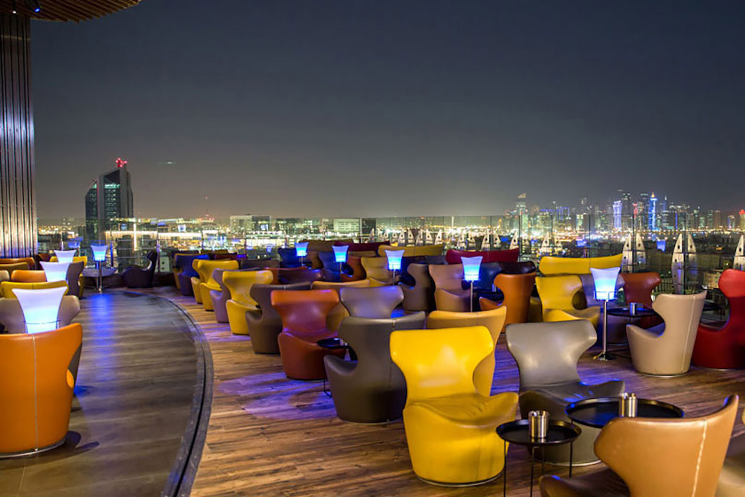 La Cigale, Doha's newest luxury hotel. WSDG performed a full acoustic makeover. Rooftop Bar 4 Night
