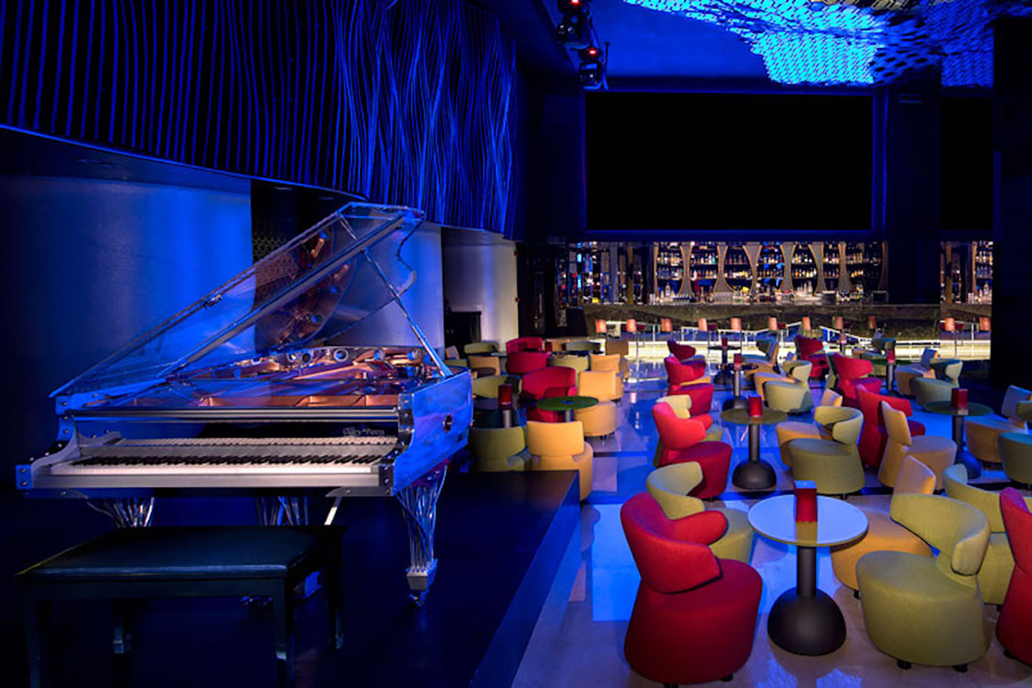 La Cigale, Doha's newest luxury hotel. WSDG (Walters-Storyk Design Group) performed a full acoustic makeover. Madison Piano Bar