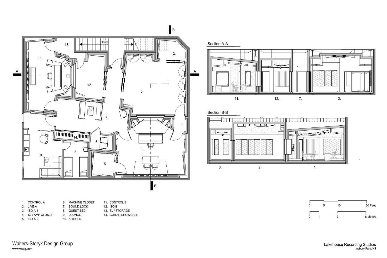 Lakehouse recording studios wsdg for Studio home plans
