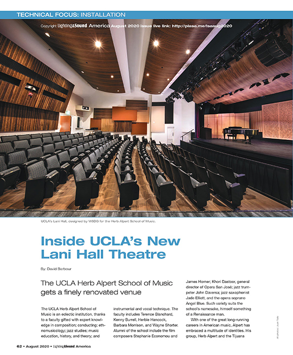 UCLA Herb Alpert's Lani Hall Theater featured at Lighting & Sound America in September 2020. Page 1.