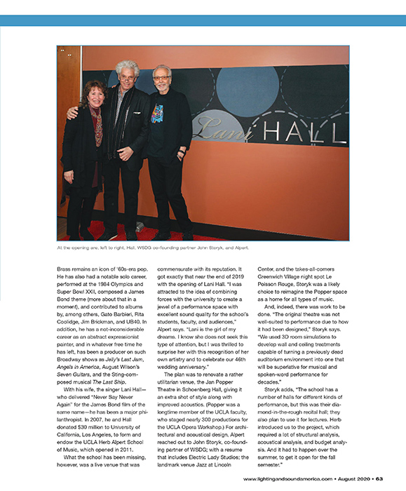 UCLA Herb Alpert's Lani Hall Theater featured at Lighting & Sound America in September 2020. Page 2.