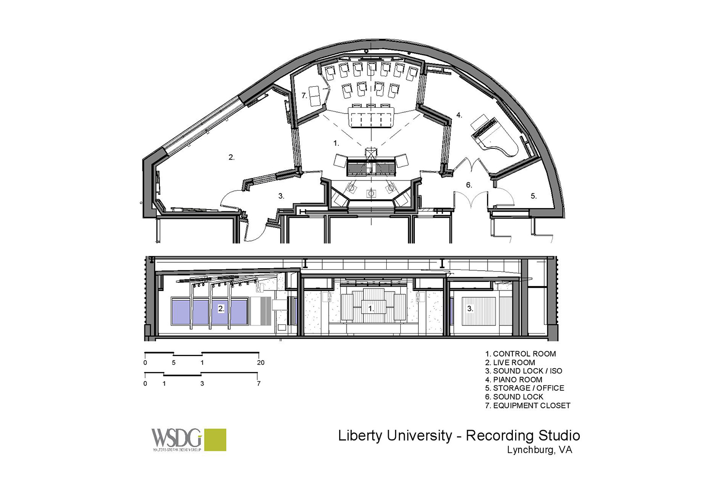 WSDG has designed a state-of-the art recording /teaching studio for the expanding campus of Liberty University, America's largest private, non-profit Christian university. Presentation Drawing/Plans 1.