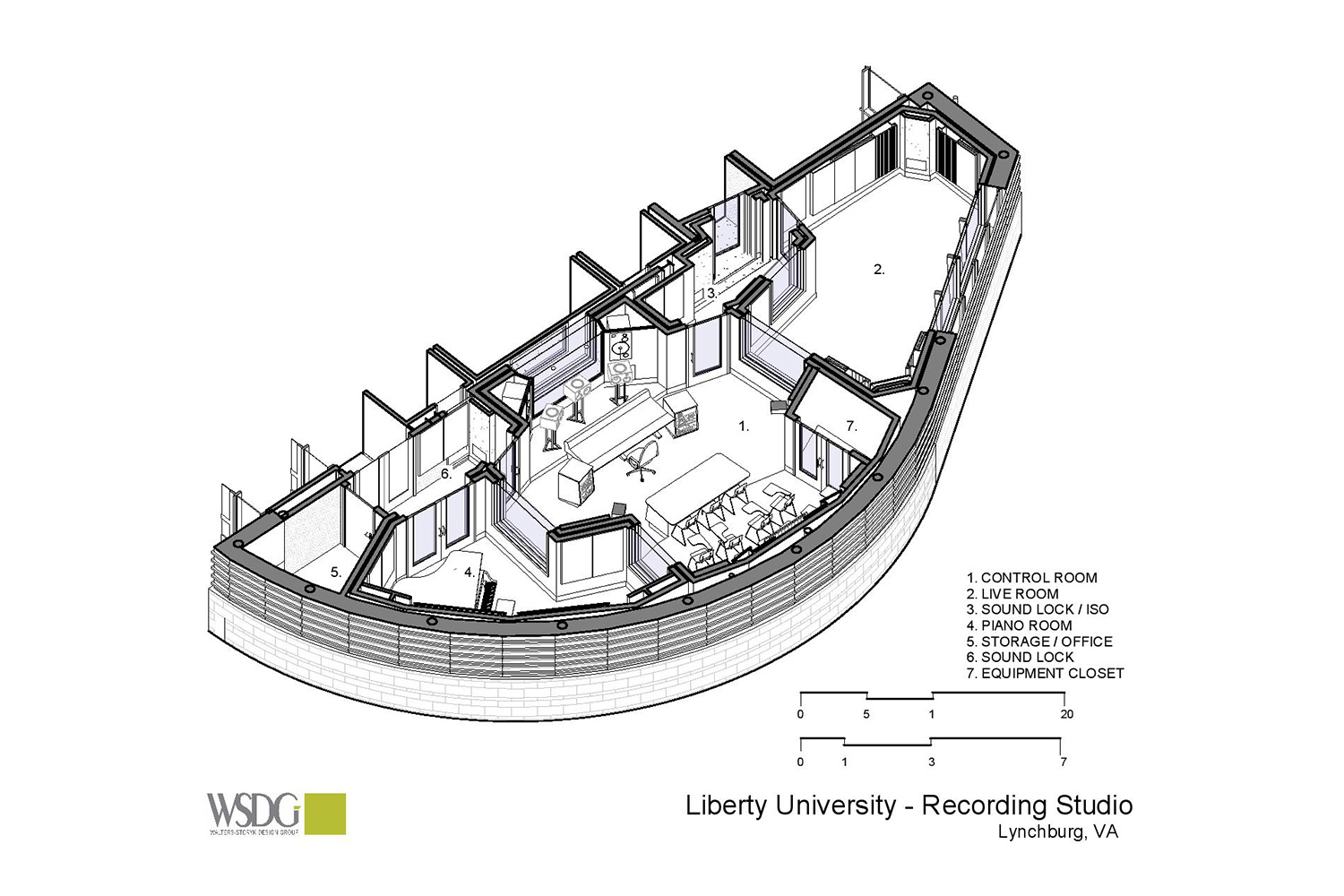 WSDG has designed a state-of-the art recording /teaching studio for the expanding campus of Liberty University, America's largest private, non-profit Christian university. Presentation Drawing/Axo View 2.