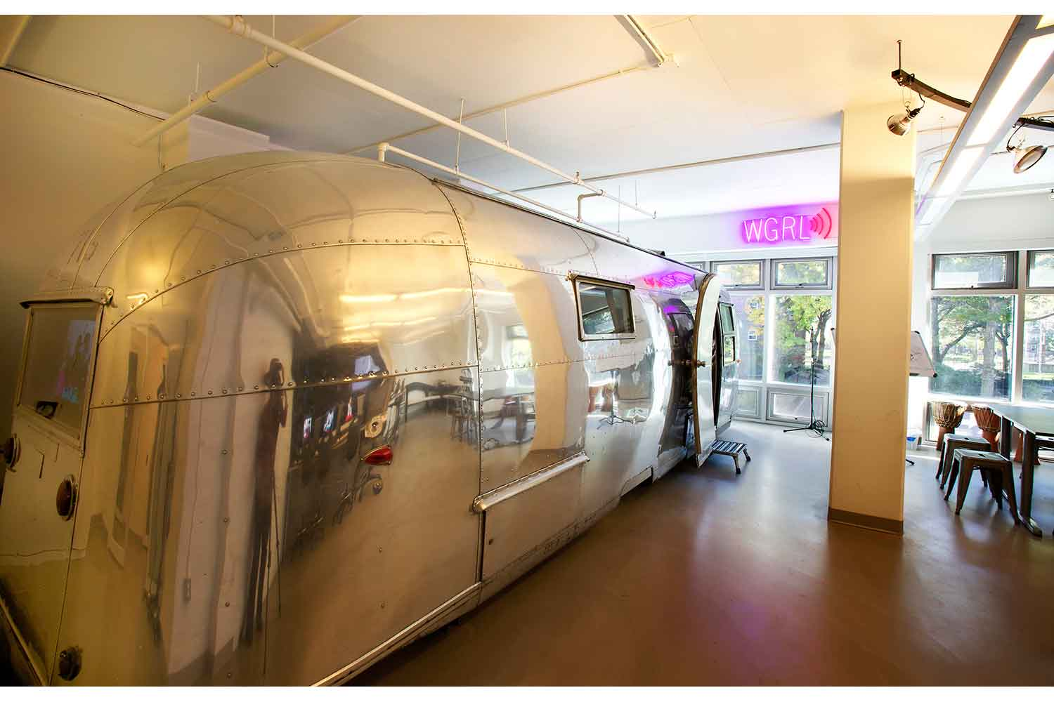 Lower East Side Girls Club Airstream Recording Studio designed by WSDG. Main airstream photo.