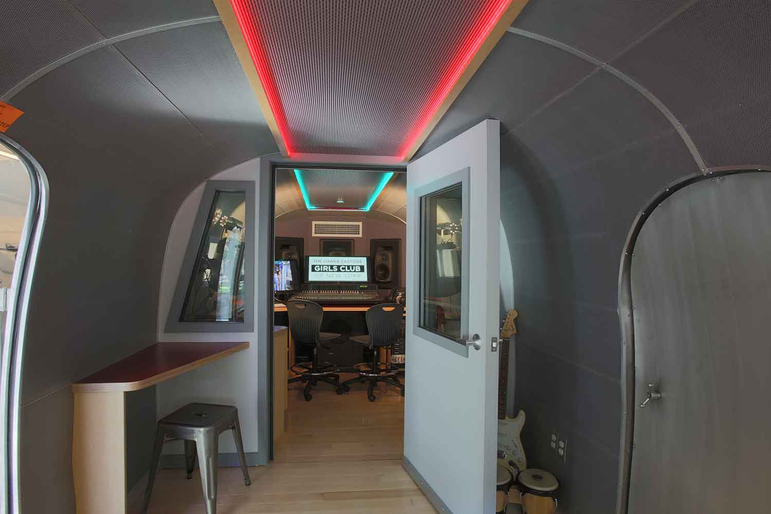 Lower East Side Girls Club Airstream Recording Studio designed by WSDG. Airstream interior acoustic design.