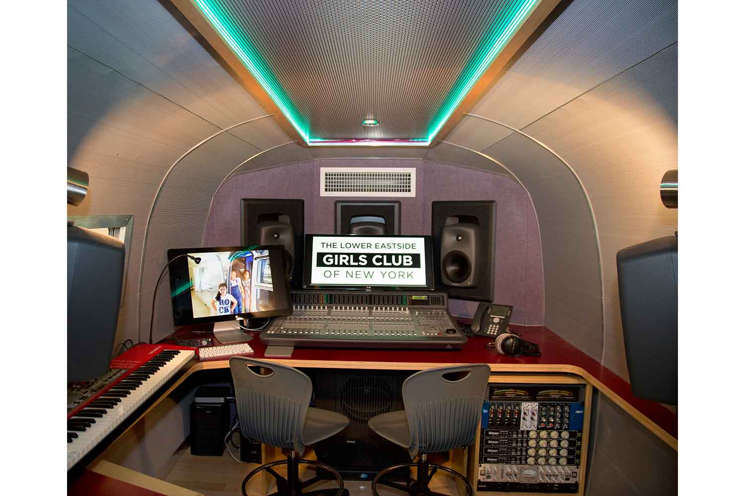 Lower East Side Girls Club Airstream Recording Studio designed by WSDG. Interior control room.