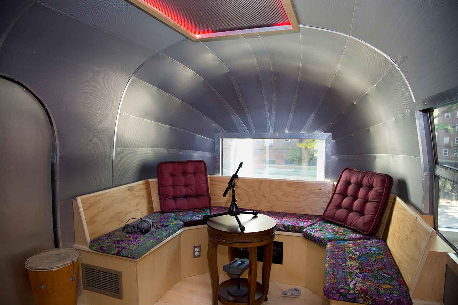 Lower East Side Girls Club Airstream Recording Studio designed by WSDG. Airstream interior lounge and live recording room.