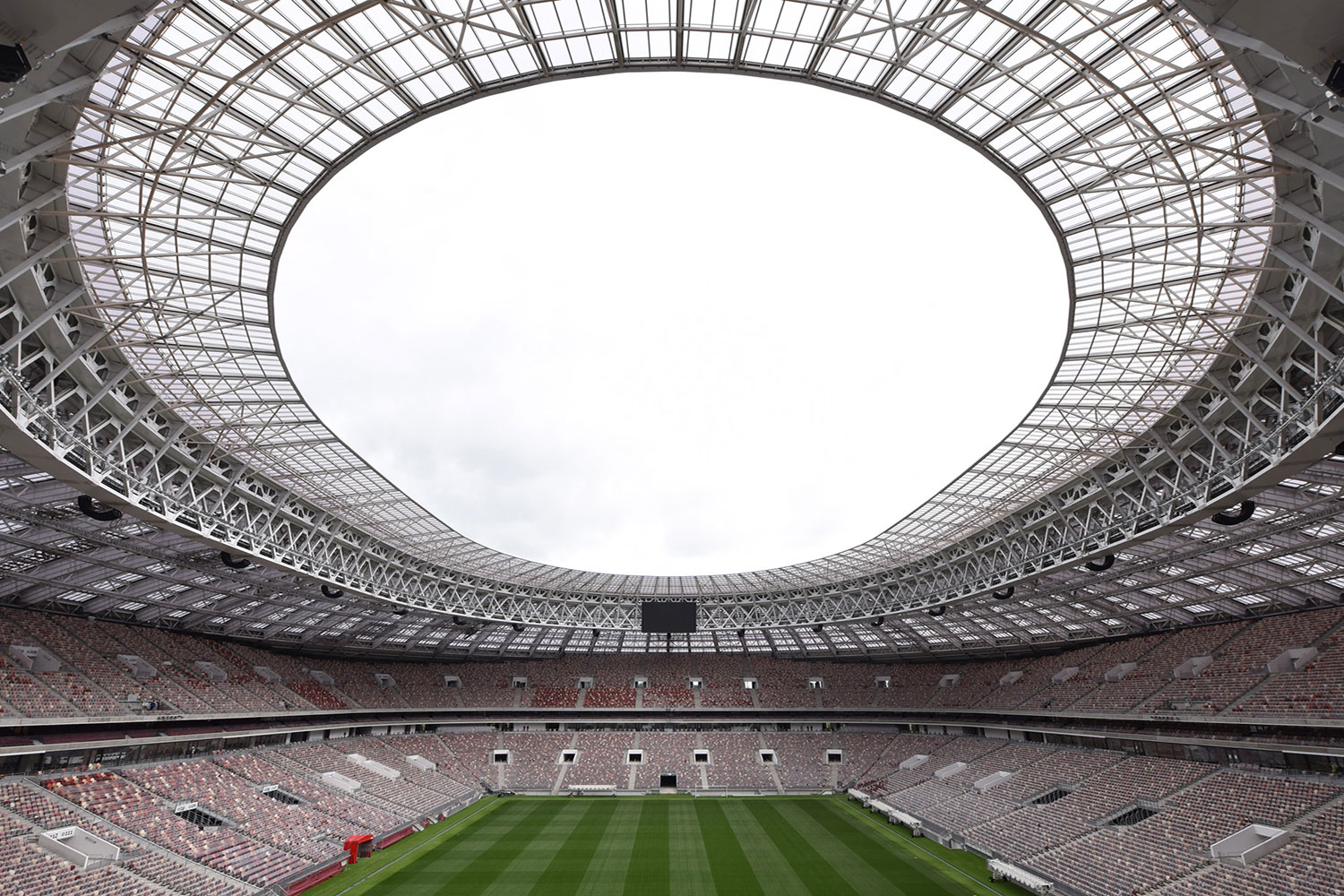 FIFA Russia 2018 Lushniki Stadium in Moscow. ADA-AMC and WSDG developed computer models and simulation in order to achieve a great sound distribution throughout the stadium. Aerial view.