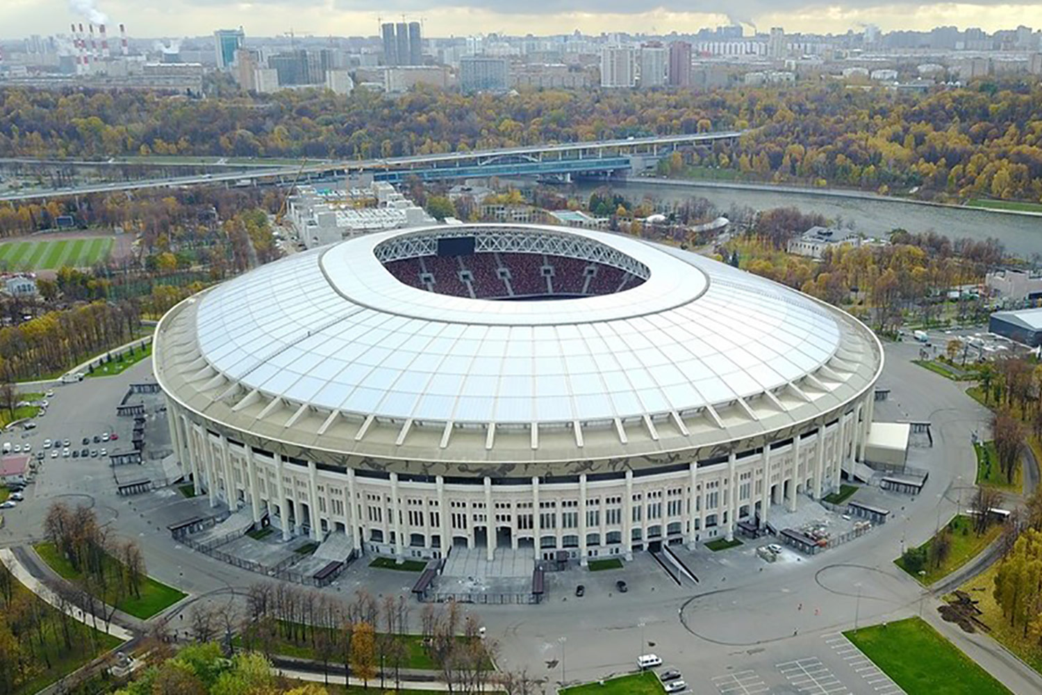 FIFA Russia 2018 Lushniki Stadium in Moscow. ADA-AMC and WSDG developed computer models and simulation in order to achieve a great sound distribution throughout the stadium. Stadium exterior aerial.