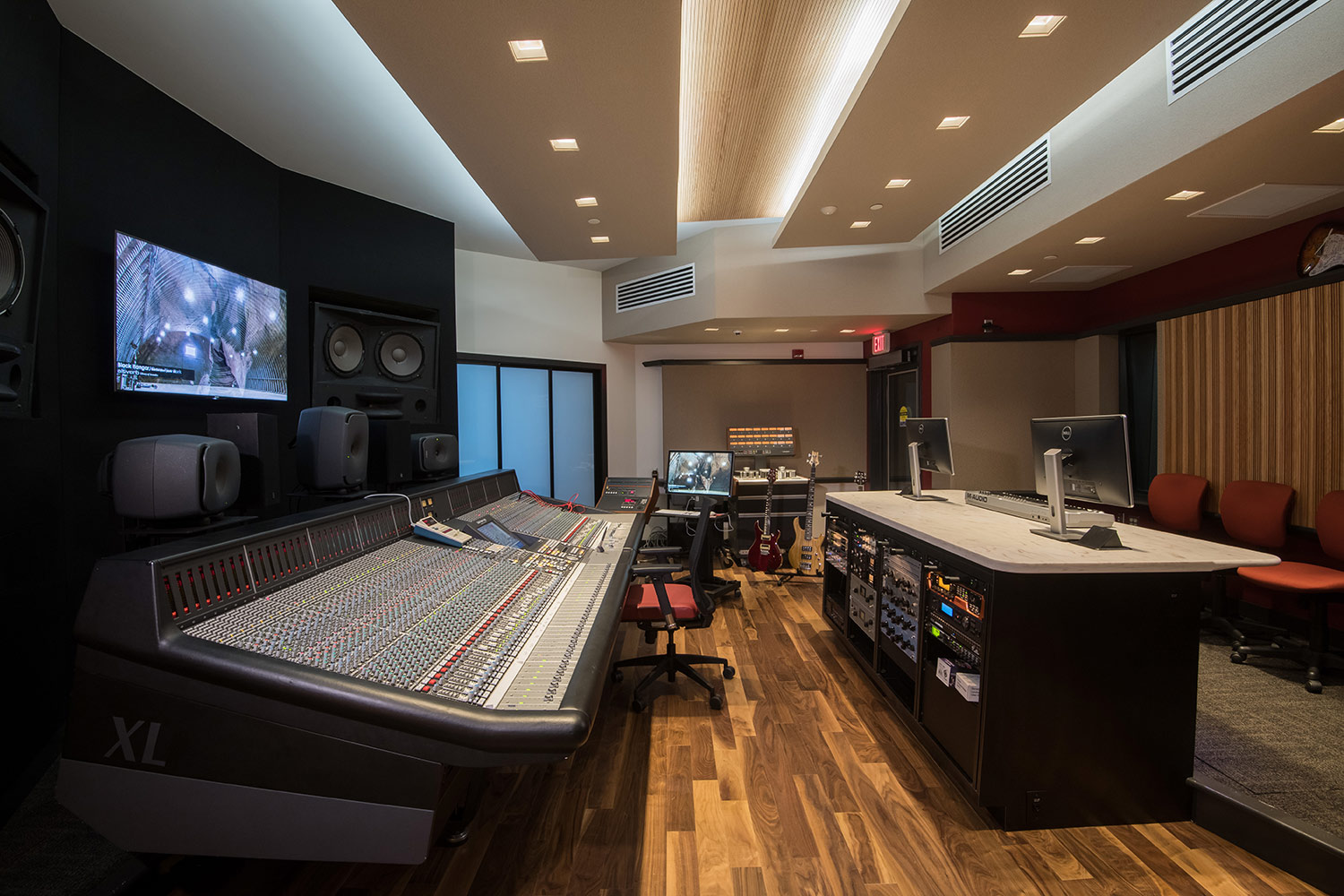 Montgomery County Community College in Blue Bell, PA brand-new Recording Studio for their Digital Music Technology course. Designed by WSDG. Architectural acoustics and media systems engineering. Control Room Side View