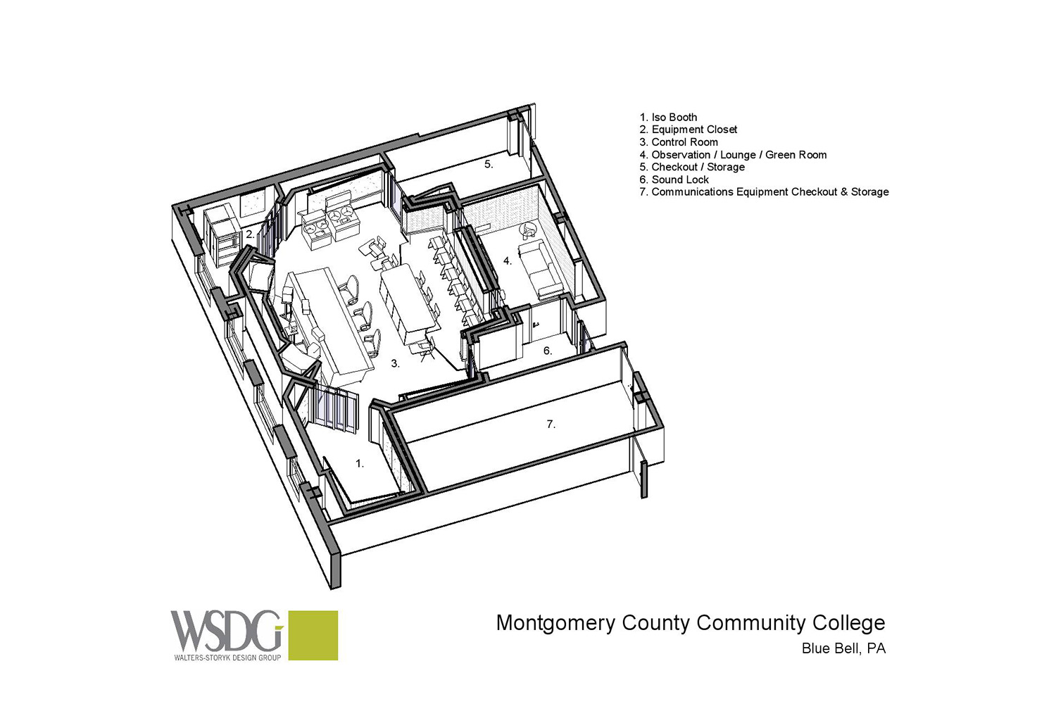 Montgomery County Community College in Blue Bell, PA brand-new Recording Studio for their Digital Music Technology course. Designed by WSDG. Architectural acoustics and media systems engineering. Presentation Drawing