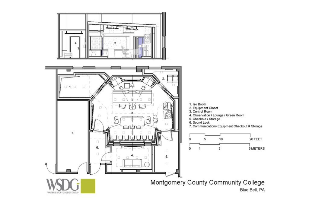 Montgomery County Community College in Blue Bell, PA brand-new Recording Studio for their Digital Music Technology course. Designed by WSDG. Architectural acoustics and media systems engineering. Presentation drawing.