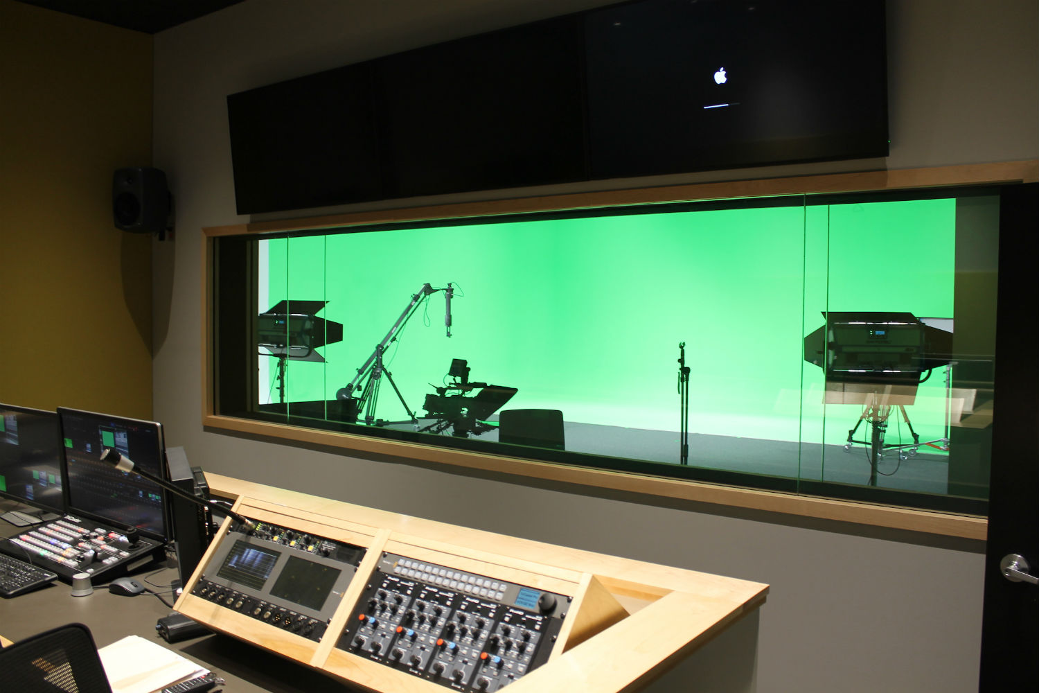 MJH Studios in NJ, designed by WSDG, is a world-class recording and production facility for the main use of creating audio and video healthcare-related content by MJH for their clients. Control Room and Sound Stage with green walls