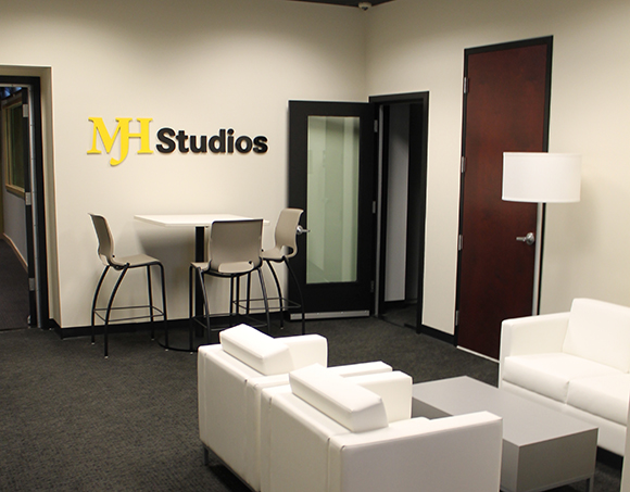 MJH Studios in NJ, designed by WSDG, is a world-class recording and production facility for the main use of creating audio and video healthcare-related content by MJH for their clients. Lobby - Post Magazine November Issue