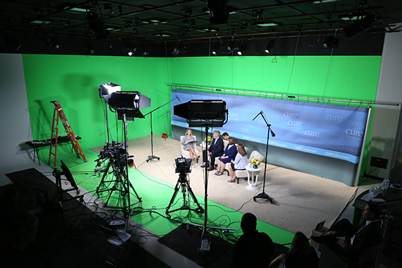 MJH Studios in NJ, designed by WSDG, is a world-class recording and production facility for the main use of creating audio and video healthcare-related content by MJH for their clients. Control Room and Sound Stage with green walls - Post Magazine November Issue