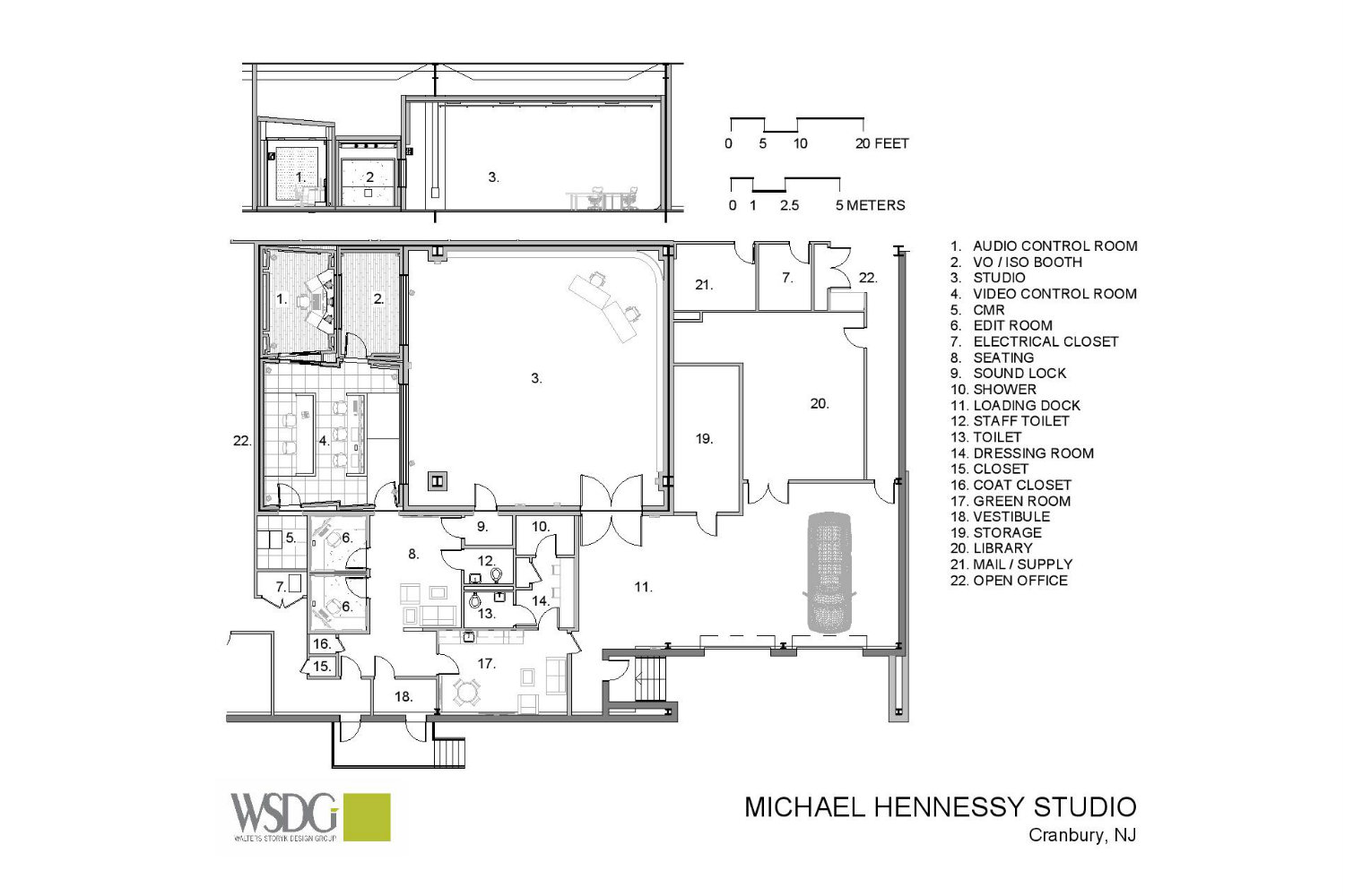 MJH Studios in NJ, designed by WSDG, is a world-class recording and production facility for the main use of creating audio and video healthcare-related content by MJH for their clients. Presentation Drawing 1